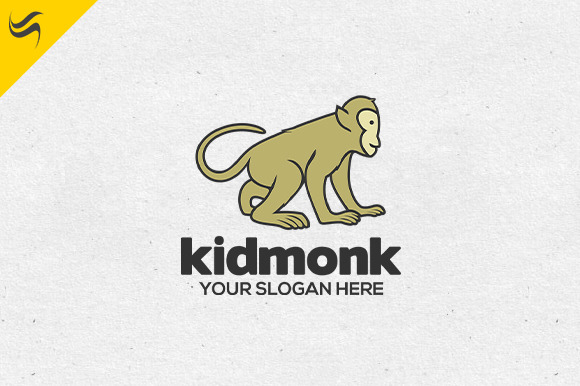 Kid Monkey Logo Template
