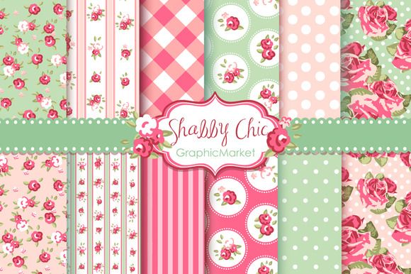 12 Shabby Chic Rose backgrounds ~ Illustrations on ...