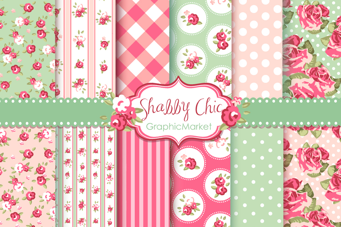 12 shabby chic rose backgrounds illustrations on creative market. Black Bedroom Furniture Sets. Home Design Ideas