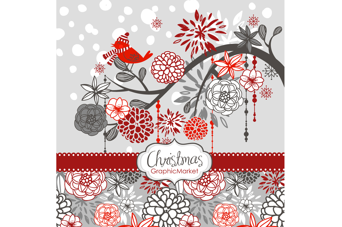 Christmas clipart bird on the branch ~ Illustrations on ...