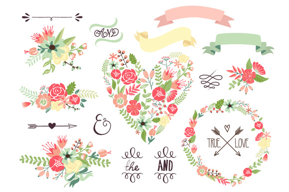 Wedding Floral clipart, Wreath heart ~ Illustrations on Creative Market