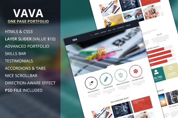 VAVA A One Page Portfolio Template