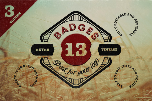 13 Retro Signs or Badges v.3 - Objects