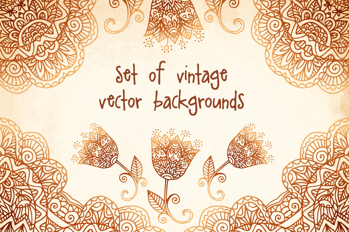 set of 6 vintage vector backgrounds  patterns on creative