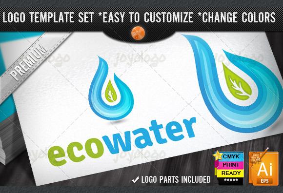 Aquatic Drop Eco Water Logo Template