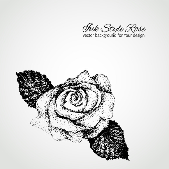 Ink Style Rose Vector Background