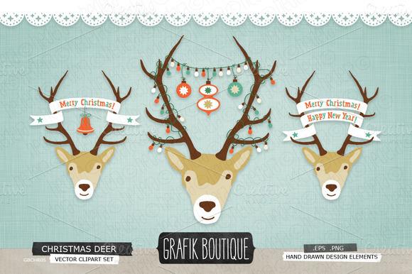 Christmas Deer Roe Antlers