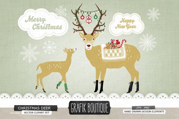 Christmas Deer Roe Decorated Antlers