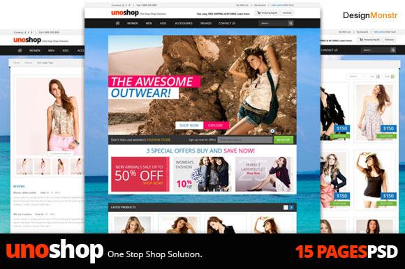 UnoShop Ecommerce PSD Theme 15 Pages