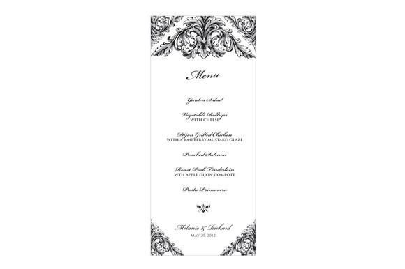 renaissance wedding menu stationery templates on creative market. Black Bedroom Furniture Sets. Home Design Ideas