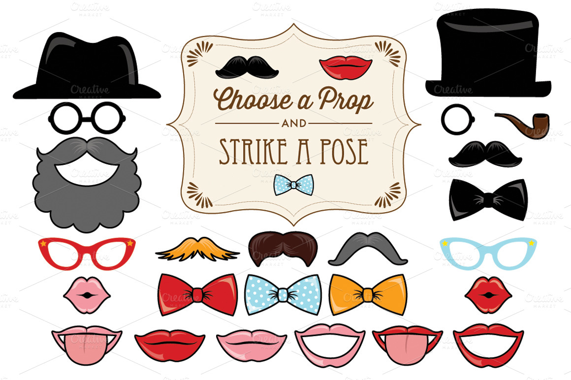 25 printable classic photo props illustrations on for Templates for photo booth props