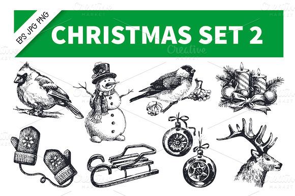 Christmas Hand Drawn Vintage Set 2