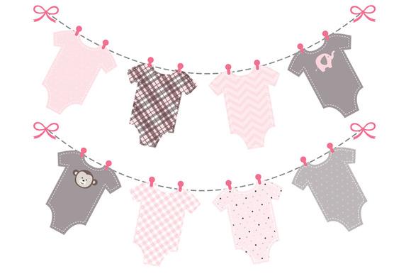 baby girl pink onesie bunting banner illustrations on creative market. Black Bedroom Furniture Sets. Home Design Ideas