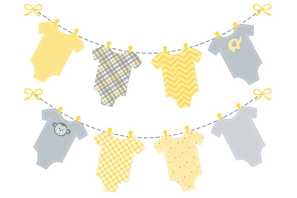 Baby Yellow Onesie Bunting Banner Illustrations On