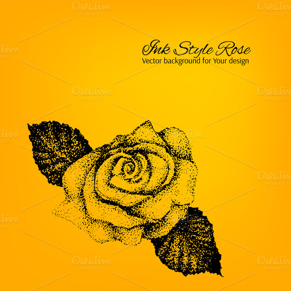 Black And Yellow Rose Vector Card