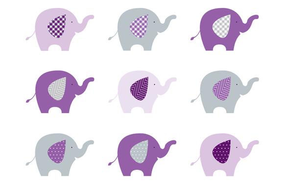 Elephants Purple Grey