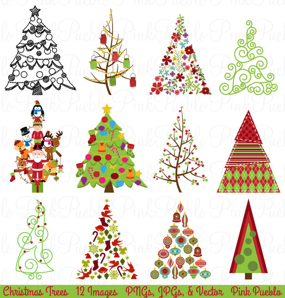 Christmas tree clipart and vectors illustrations on creative market
