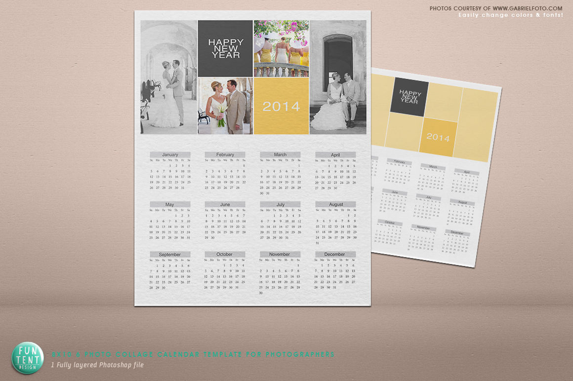 Calendar Design Template Psd : Psd photo collage calendar invitation templates