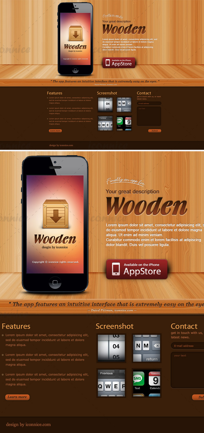 Wooden iphone app web website templates on creative market Furniture apps for iphone