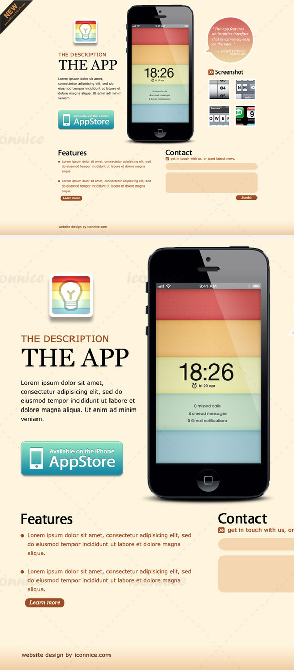 light brown iphone app web template website templates on creative market. Black Bedroom Furniture Sets. Home Design Ideas