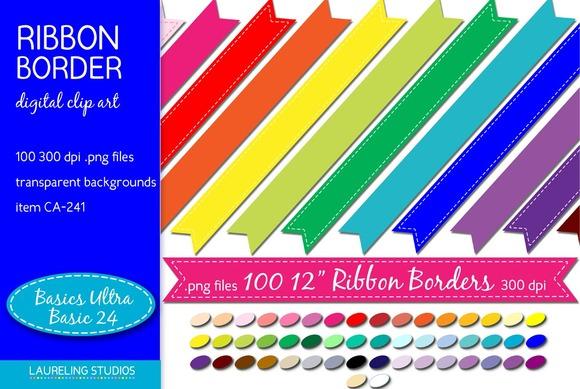 Digital Ribbon Clip Art Borders