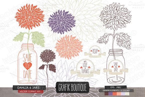 Dahlia Flower Mason Jar Invitation