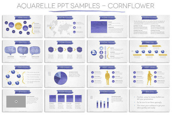 Aquarelle Powerpoint Template - Presentations - 2