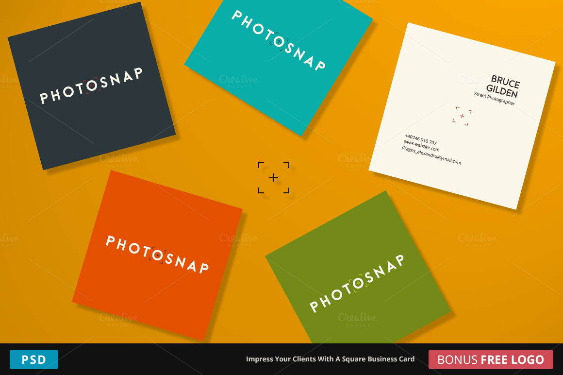 photosnap business card square business card templates on creative market. Black Bedroom Furniture Sets. Home Design Ideas