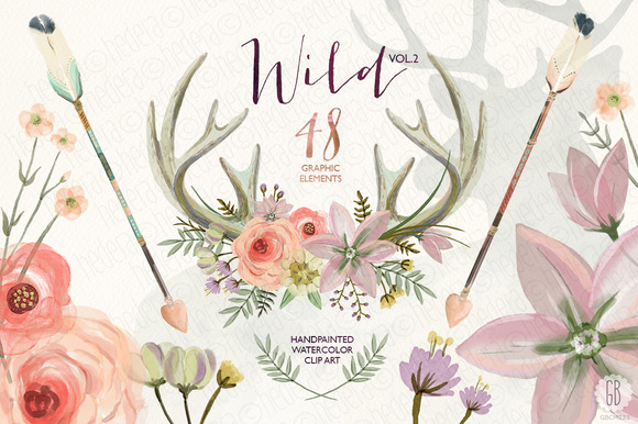 Watercolor antlers floral wild Vol.2 - Illustrations