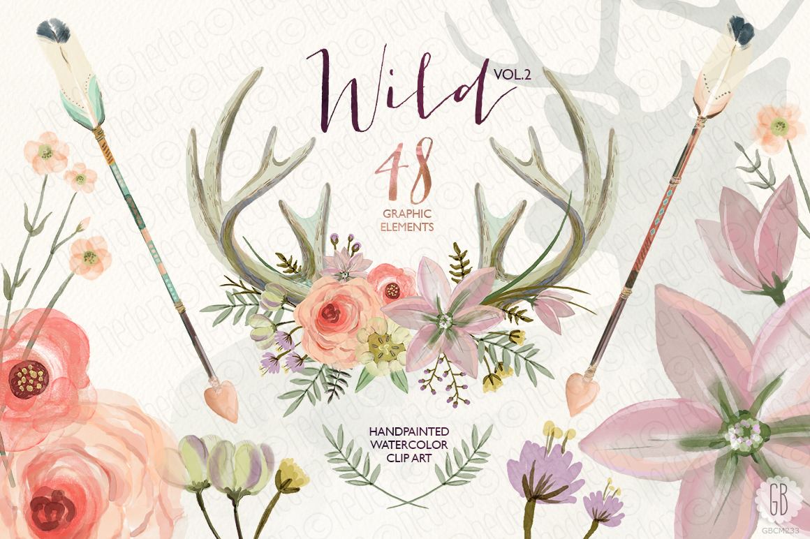 Watercolor Antlers Floral Wild Vol 2 Illustrations On