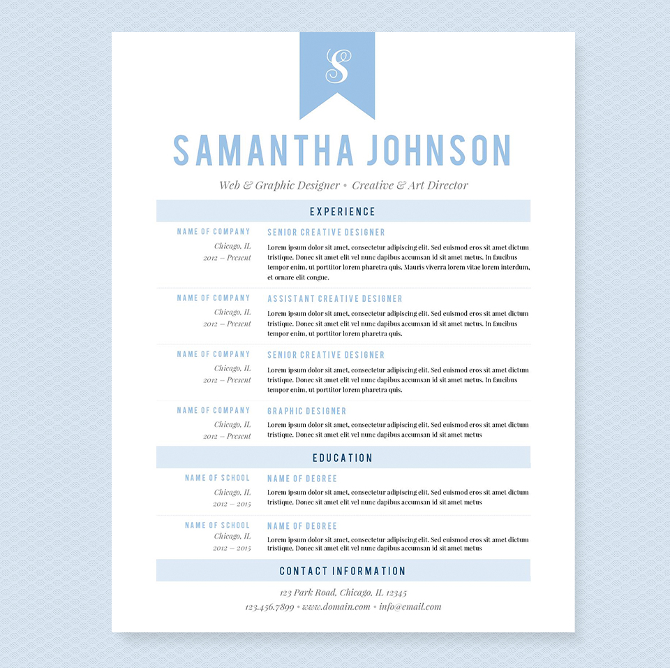 Light Blue Resume Template Package Resume Templates On
