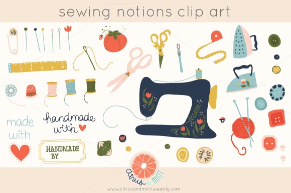 Sewing Notions Clip Art Illustrations On Creative Market