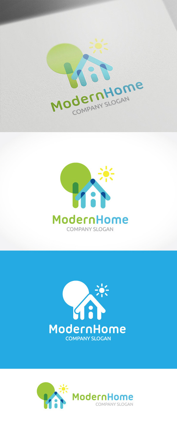 Modern home logo templates on creative market for Modern house logo