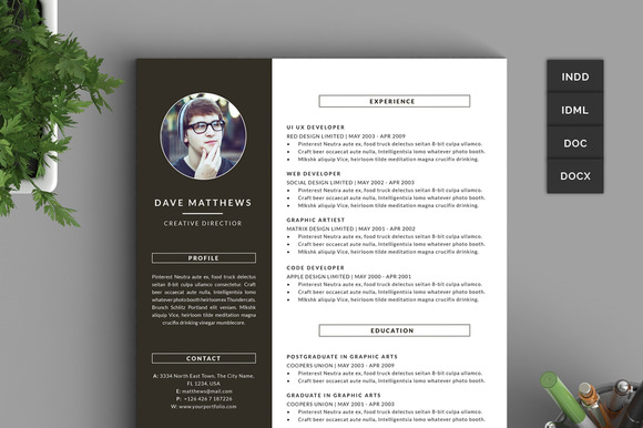 Hipster ResumeCV with Cover Letter Resume