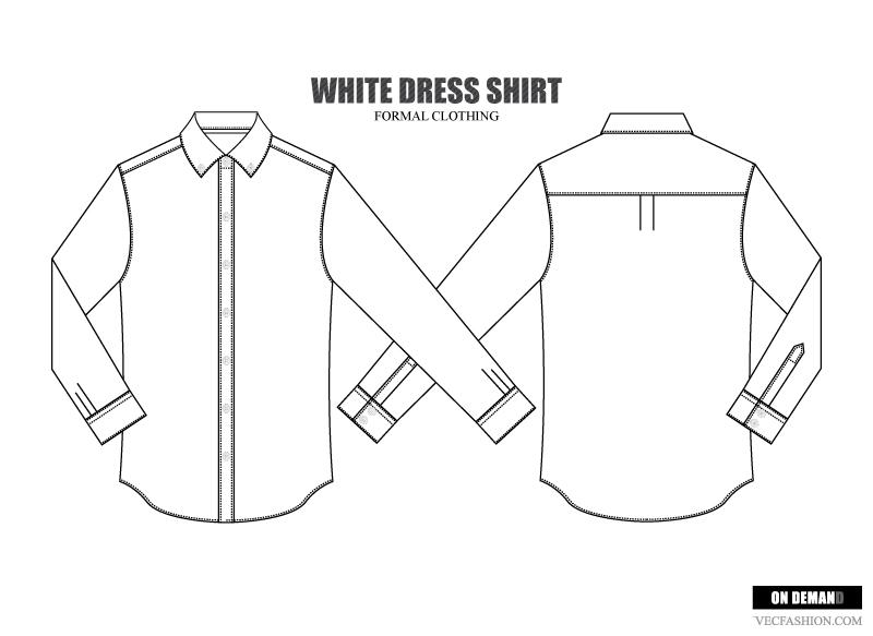 formal attire template - men dress shirt vector template illustrations on