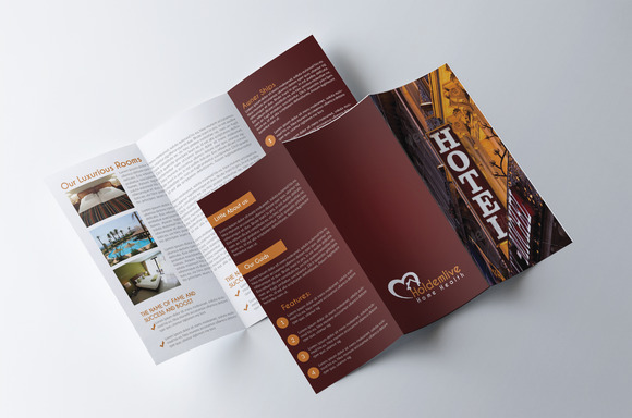 hotel brochure template - hotel trifold brochure brochure templates on creative market