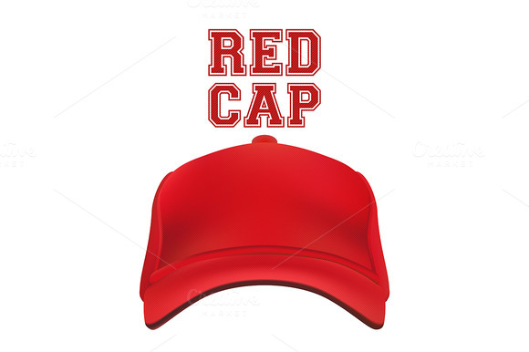 Red Cap isolated on white. Vector - Objects