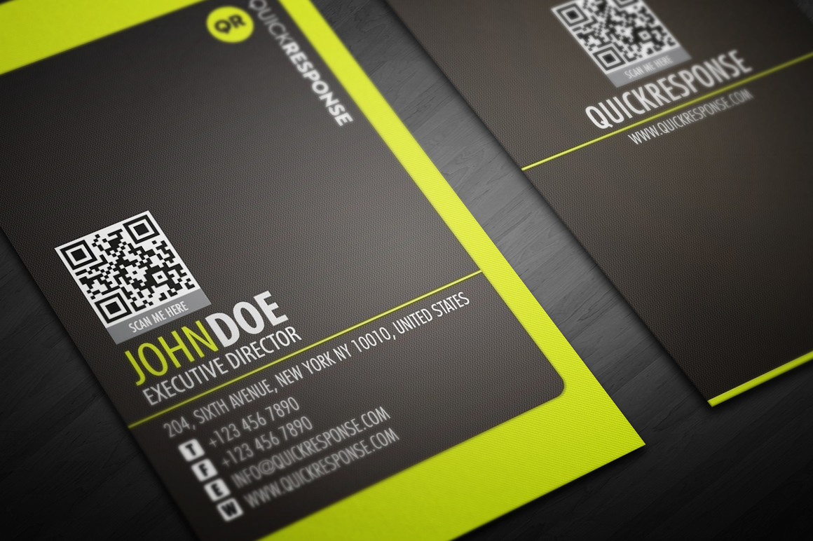 Neon Lime Green Business Card Design Business Card
