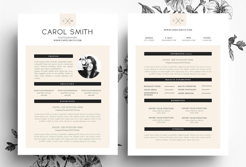 custom cv template resume templates on creative market