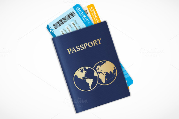 Vector passport with tickets. Flat - Objects