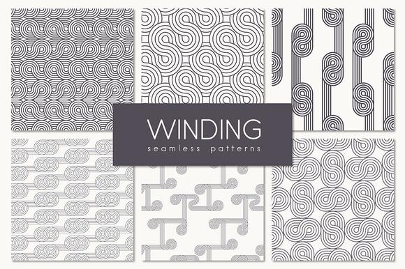 Winding Seamless Patterns. Set 1 - Patterns
