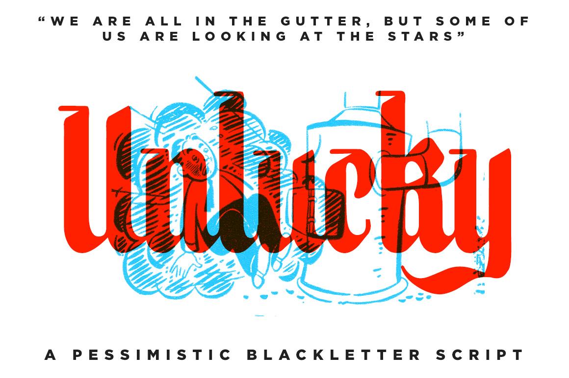 unlucky blackletter font blackletter fonts on creative market