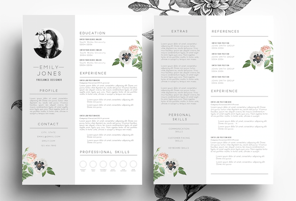 Professiona CV Cover Letter PSD Word Resume Templates On