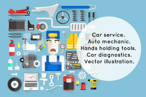 Car service. Auto mechanic. - Illustrations