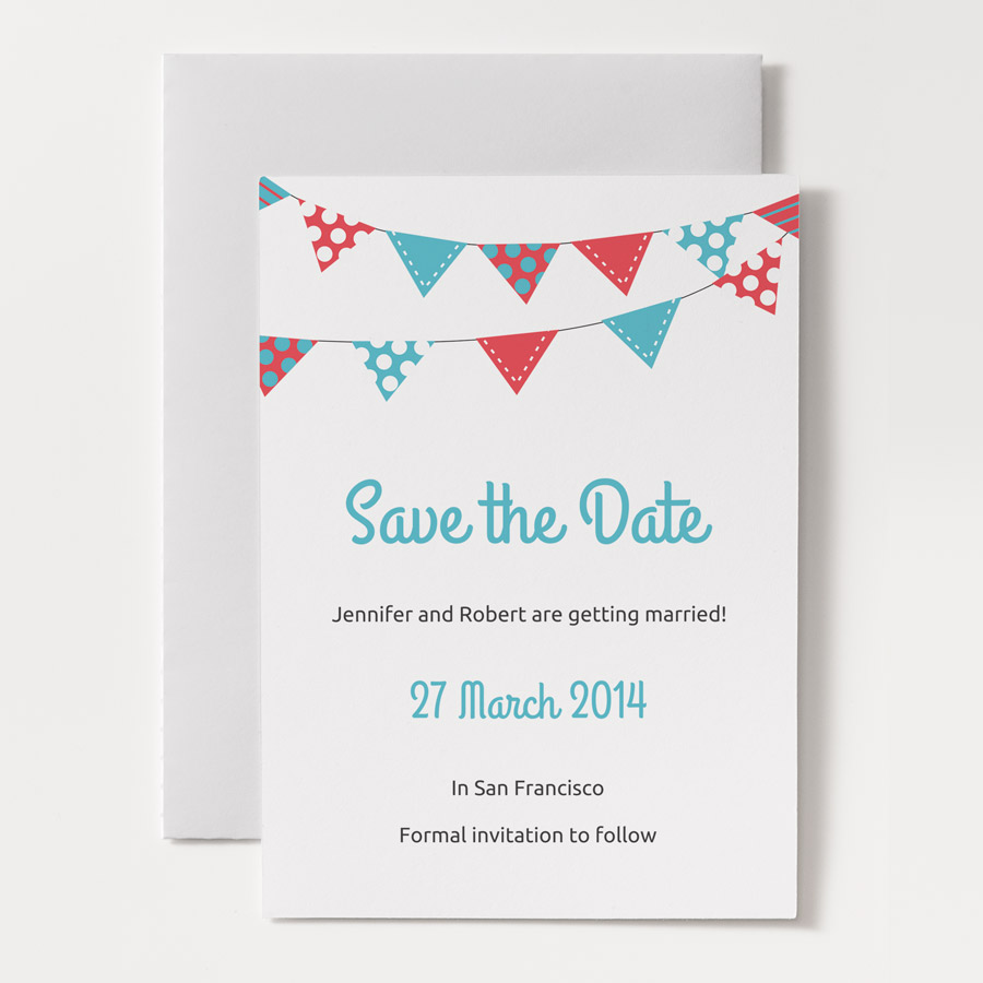 Printable save the date template bunting 1a for Online save the date template free