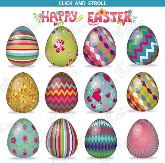 Easter pattern eggs set 01.Vector - Illustrations - 2
