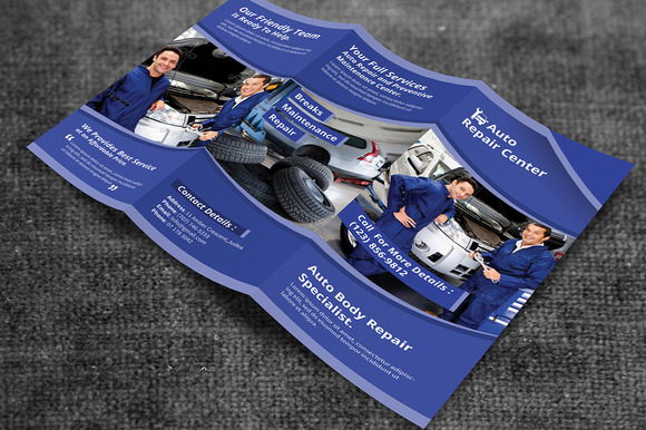 Auto repair service trifold brochure brochure templates for Automobile brochure design