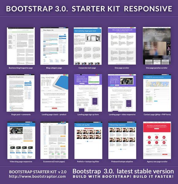 bootstrap 3 starter kit responsive website templates on creative market. Black Bedroom Furniture Sets. Home Design Ideas