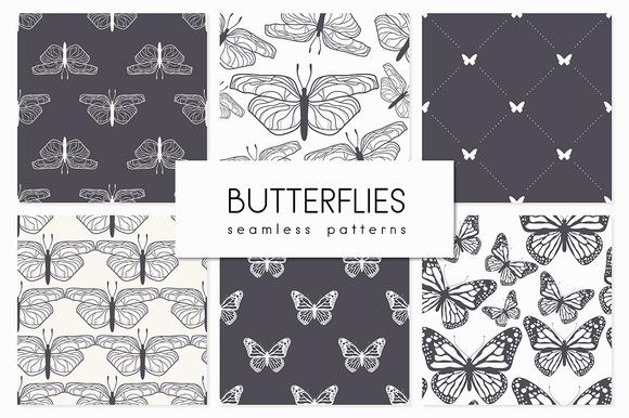 Butterflies. Seamless Patterns Set - Patterns