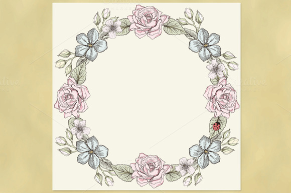 Floral Wreath. Victorian style. - Illustrations
